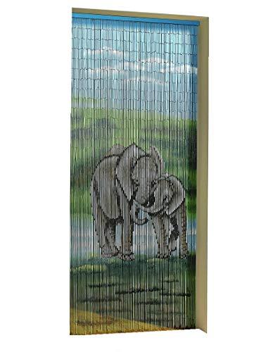 ABC home Türvorhang Elefant Raumteiler Sichtschutz Insektenschutz Spanischer Vorhang 90x200cm Fliegenvorhang Dekovorhang Wohnwagen Wohnmobil Balkonvorhang