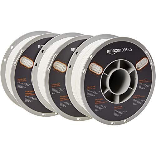 AmazonBasics – Filamento de PLA de alta calidad para impresora 3D, 1,75mm, Blanco, 1kg por bobina, 3 bobinas