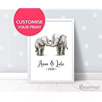 Elephant Wedding Gift Art Print by Pawprint Illustration | Custom Newlywed Gift | Frame not included