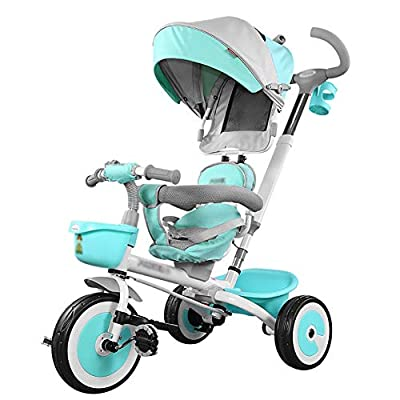 LYDB Trikes for Toddlers,Folding Child Tricycle 1-5 Years Old Child Bicycle 3 Wheel Bike Free Inflatable Kids Trolley (Color : Green)