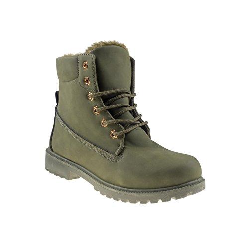4858 Fashion4Young Gefütterte Damen Stiefel Stiefelette Ankle Boots Booties Schnürschuhe Dunkeloliv
