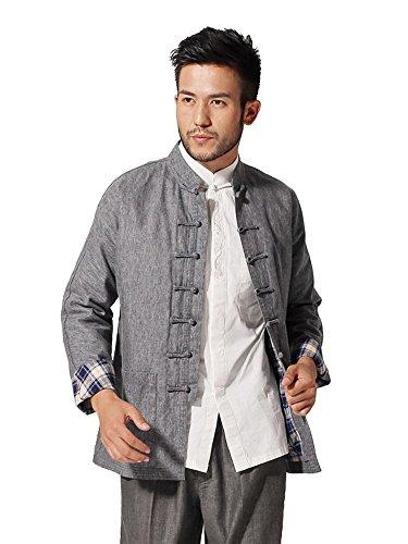 Bitablue Herren Jerseyjacke im chinesischen Stil mit Mandarinenkragen - Grau - Medium (Chinesisch Lieferung Kostüm)