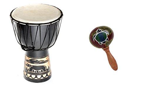 40cm Große Djembe Trommel Bongo Drum Elefant Schwarz + Rassel Schildkröte R1