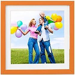 Holz - Rahmen für Bilder quadratisch 15x15 20x20 25x25 30x30 40x40 50x50 mit weißem Passepartout Rahmen zum Aufhängen Farbe Dunkel-Orange - Format 40x40