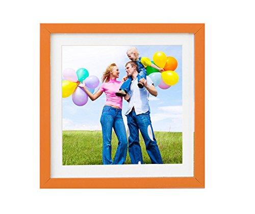 Holz - Rahmen für Bilder quadratisch 15x15 20x20 25x25 30x30 40x40 50x50 mit weißem Passepartout Rahmen zum Aufhängen Farbe Dunkel-Orange - Format 25x25