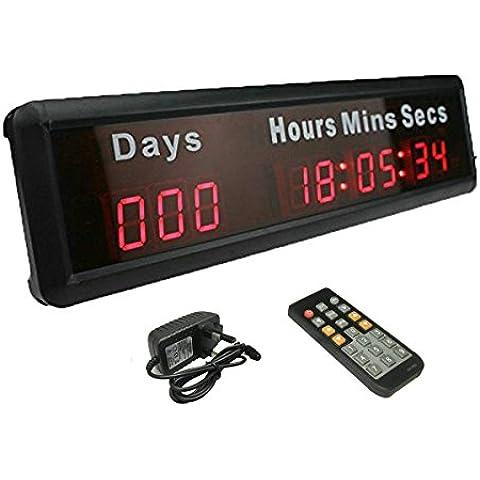 ganxin pulgada de alta 9dígitos LED reloj de pared, con grandes eventos 1000días cuenta atrás/Up multifuncional Digital temporizador, 12/24horas tiempo real reloj por control remoto, caja de aluminio, con horas minutos segundos en color rojo