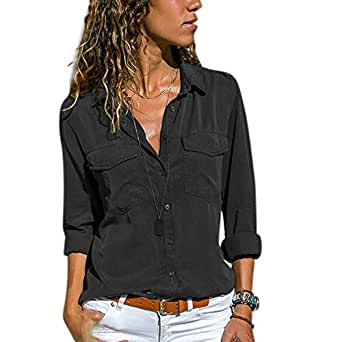 Alician Women Sexy Long-Sleeve V Neck Blouse Casual Lapel T-Shirt Elegant