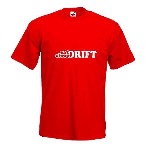 KIWISTAR - Eat Sleep Drift T-Shirt in 15 verschiedenen Farben - Herren Funshirt bedruckt Design Sprüche Spruch Motive Oberteil Baumwolle Print Größe S M L XL XXL Rot