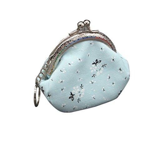 Frauen Mädchen Mode Snacks Geldbörse VENMO Wallet Bag Change Tasche Schlüsselhalter Geldbörse mit Ethno Blumen und Blüten Muster, Vintage Design, Reißverschluss, Portemonnaie Hellblau / Pink / Lila / Beige (Light blue) -