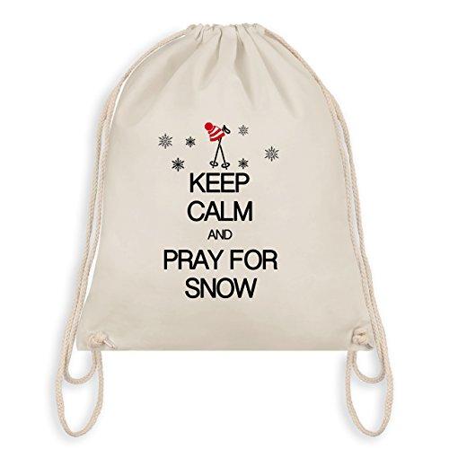 Shirtracer Keep calm - Keep calm and pray for snow - Unisize - Naturweiß - WM110 - Turnbeutel & Gym Bag