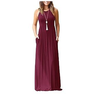 ZNYSTAR Sommer Kleider Damen Casual lange Kleider mit Taschen T-Shirt Kleid Elegant Solid Color Plissee Lose Strand langes Kleid (Small, Weinrot)