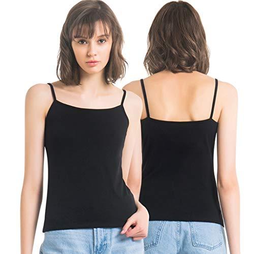 HGbeauty Damen Basic Cotton Camisole Shelf-BH, der Tani-Trägershirts schichtet (Farbe : Black × 2, größe : M) - Black Cotton Spandex Camisole