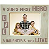 Yaya Cafe Fathers Day Gifts Engraved Photo Frame Wooden - Dad Sons Hero Daughters Love