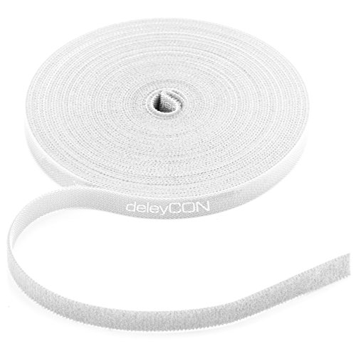 deleyCON 10m Klett Kabelbinder Klettband Klettbandrolle 10mm Breit Kabelmanagement Kabelorganizer Klettkabelbinder Klettverschluss zuschneidbar Weiß