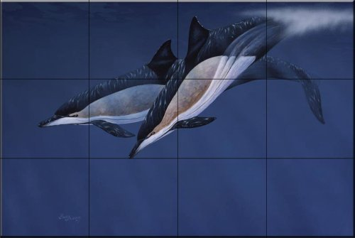 common-dolphins-by-barry-ingham-tile-mural-for-kitchen-splashback-bathroom-wall-tile-mural-uk-made