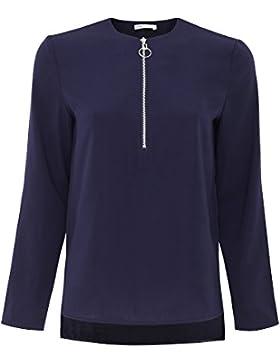 oodji Collection Mujer Blusa de Tejido Grueso con Cremallera