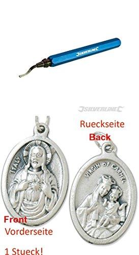 Handentgrater, 148 mm, Entgradmesser, Entgrater mit einem Anhänger Herz Jesu 2,5cm