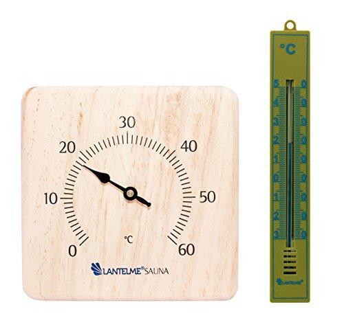 Lantelme 6351 Saunazubehörset Infrarot Sauna und Badezimmerthermometer - Saunazubehör Set mit Saunathermometer und Badezimmer Thermometer Analog