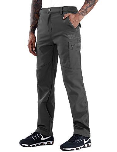 Zoerea Invernale Pantaloni Outdoor da Uomo Foderati in Pile Trekking Impermeabili Elasticizzati Slim Fit Si Asciugano Velocemente Calzoni Invernali da Viaggio Grigio, Etichetta XL