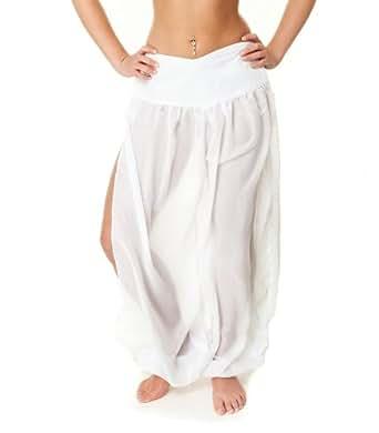 The Turkish Emporium SAROUEL PANTALON DANSE ORIENTALE bollywood DANSE DU VENTRE Aladin Hippie Ethnique Yoga (Blanc)