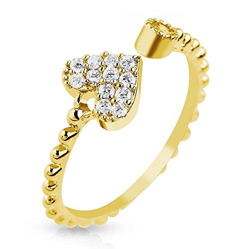 Bungsa® Goldfarben Mittelring Herz mit Zirkonia gold Kristall Zehenring für Damen Edelstahl (Zehring Fussschmuck Fussring Toe-Ring Nail Ring Nagelring biegbar verstellbar)