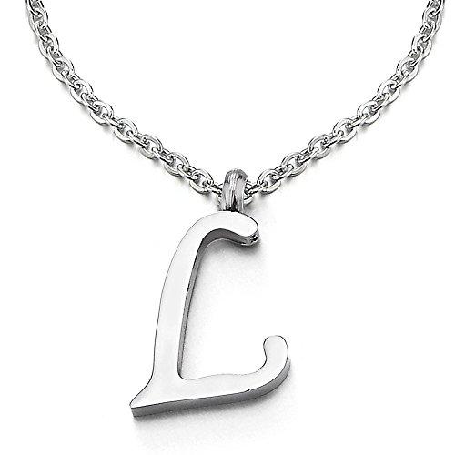 COOLSTEELANDBEYOND Name Initiale Alphabet Buchstaben L Anhänger Edelstah Halskette für Damen Herren Farbe Silber mit 50cm Stahl Seil-Kette