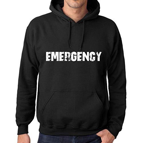 Uomo Donna Unisex Felpa con Cappuccio in Cotone Stampata Sweatshirt Maniche Lunghe con Cappuccio Popular Words Emergency Profondo Nero