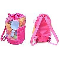 BETTERLE Bolsa de malla grande para niños, bolso de hombro colástico, mochila con cordón para playa, natación, juguetes de piscina como voleibol, fútbol, mantener la arena al agua, rosa