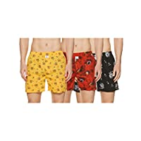 Longies Men's Printed Boxers (Pack of 3) (LGBOXPO3173_Multicoloured_Large)