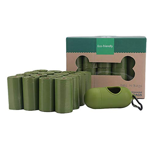 Seika Hundekotbeutel, Hundekotbeutel, auslaufsicher, umweltfreundlich, leicht abreißbar, biologisch abbaubar, 16 Rollen 9x13inch grün