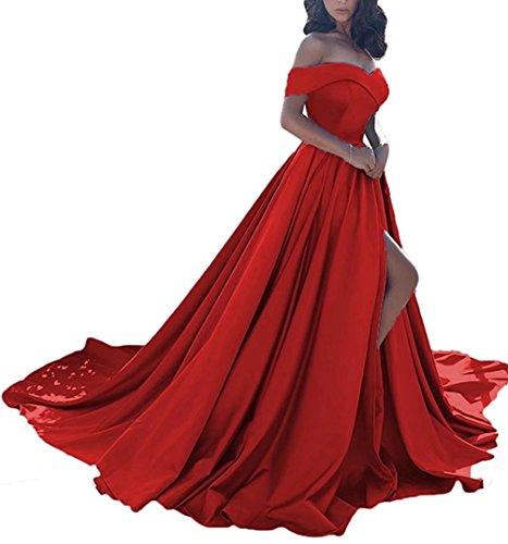 NaXY Damen A-Linie Lang Ab-Schulter Abendkleid Ballkleid Hochzeit Brautjungfernkleid mit Seitenschlitz