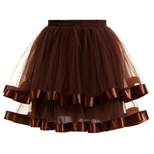 Kanpola Damen Gefaltete Gaze kurzer Rock Adult Tutu Dancing Skirt Röcke (S /Gr 36, (Kleid Kurzes Handschuhe Blaues)