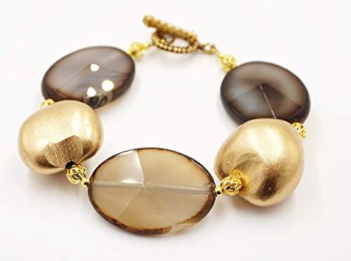 Achat Armband Damen mit gold Samen, exclusiver Edelsteinschmuck, 16-17 Zentimeter Handgelenk