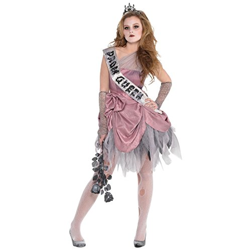 12-14 Years - Girls Zombie Prom Queen Fancy Dress Costume Halloween Kids Teen Outfit Dress Sash Tiara Arm Gloves Unique Pretty Hallows Eve Outfit Petite UK Size 12 by Fancy Dress VIP