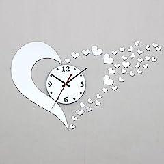 Idea Regalo - ZHUOTOP Vogue stereoscopico-Orologio da parete fai-da-te a forma di cuore, Specchio adesivo da parete per la casa