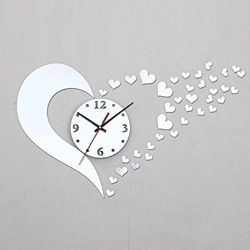 zhuotop Vogue Stereoscopic Herzen Form Wanduhr DIY Spiegel Wand Aufkleber Home Decor (Herz Spiegel)