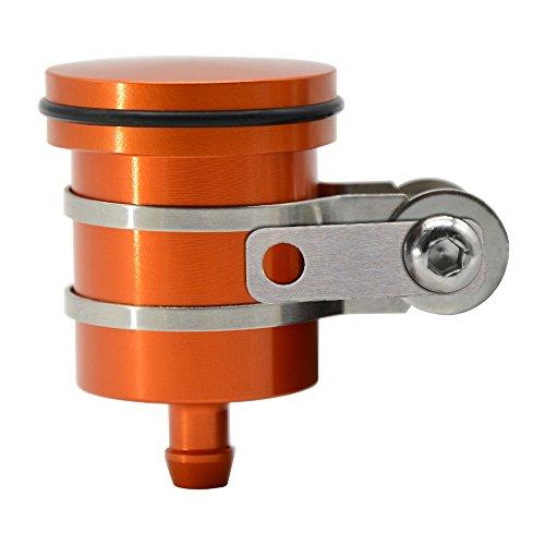 Aluminium Motorrad Bremse Tank Behälter Ölzylinder Bremsflüssigkeitsbehälter mit Behälterhalter für Duke RC 125 200 390 XC EXC XCW SXF, 1050 1090 1190 1290 Adventure ADV 1290 (Orange)