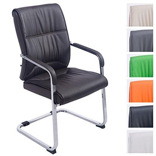 CLP XXL-Freischwinger Anubis mit Kunstlederbezug und gepolsterter Sitzfläche I Pflegeleichter Konferenzstuhl mit Armlehne Braun -