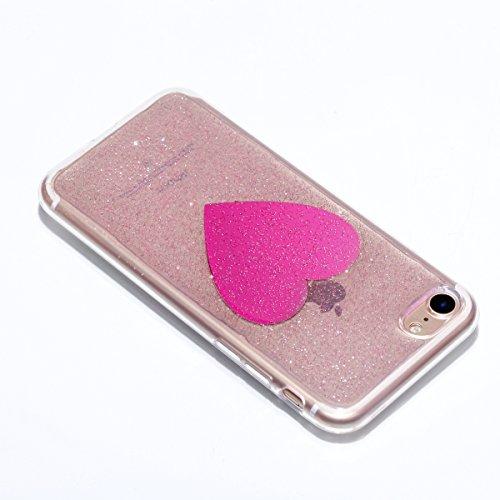 Custodia per Apple iPhone 7 Plus / iPhone 8 Plus 5.5 Torretta di Trasmissione - Bling Girlyard Glitter Brillantini in TPU Sottile Morbido Colorate Silicone Trasparente Slim Case Cover Gel Antiurto El Rosa Amare