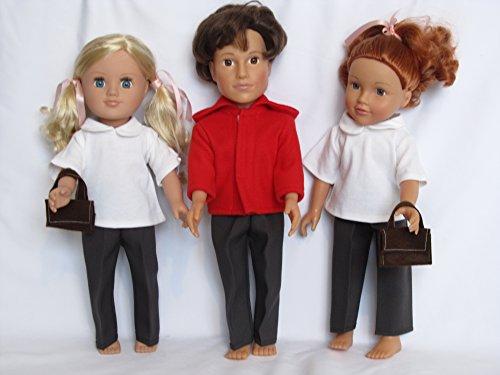 Uniforme escolar de invierno rojo con mochila para adaptarse a Designafriends, Sindy, Nuestra Generación, AMG. Carly, Cayla y otras muñecas de 45,7 cm
