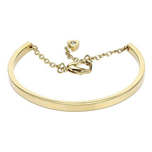 Kostüme Fosse (Adisaer Edelstahl Armband Damen Gold Qualitativ Hochwertige Polieren Armreifen Paar Armbänder Länge21.3CM Punk)