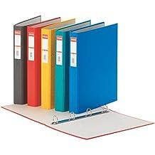 Esselte 19409–Lote de 10archivadores de 4anillas (cartón Rainbow 35mm), varios colores