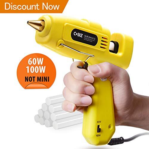 Heißklebepistole, Cobiz Klebepistole 60/100w Zweileistung mit 10 pcs Klebesticks 11 mm für DIY Handwerk und schnelle Reparaturen, Heissklebepistole mit kabel