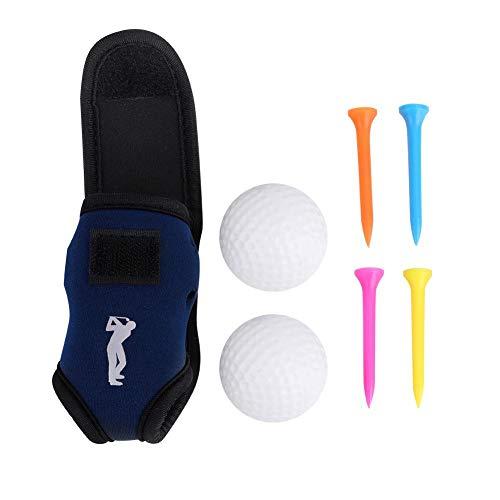Dilwe Mini Portable Golf Pouch, Mini Golf Ball Halter Tasche Gürtelclip mit 2 Kugeln 4 Nägel für Outdoor Training -