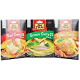 Real Thai Combo of Curry Packet, Red Curry + Green Curry + Yellow Curry Paste 1 Each 50g ( Pack of 1 )