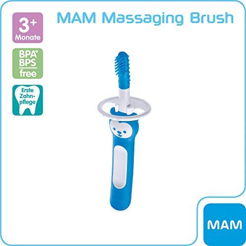 MAM Massaging Brush mit weichen Silikonborsten, gewöhnt Babys an die tägliche Zahnreinigung, Baby Zahnbürste zur Linderung von Zahnungsschmerzen, ab 3+ Monate, blau