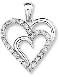 Amor Damen-Anhänger Herz 925 Silber rhodiniert glänzend Zirkonia weiß 25 mm - 377447