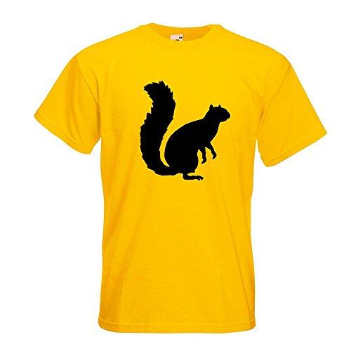 Kiwistar Eichhörnchen - Squirrel T-Shirt in 15 Verschiedenen Farben - Herren Funshirt Bedruckt Design Sprüche Spruch Motive Oberteil Baumwolle Print Größe S M L XL XXL Gelb