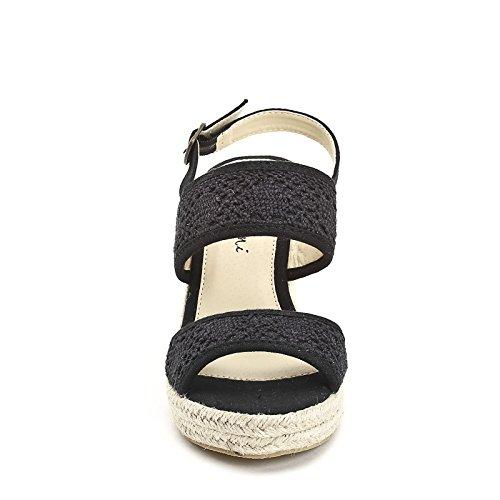 PRENDIMI by Scarpe&Scarpe - Schuhe mit Keilabsatz und Macramè-Textil Schwarz