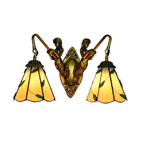 SXFYWYL Tiffany Wandlampe Einfache mediterrane Wandellichtpastoral Leaves Pattern Living Room Bedside 6 Inch Sconce,Doublehead